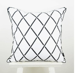Wholesale Diamond Cushion Covers - 45*45 cm Decorative Throw Pillow Cover Black White Abstract Geometry Diamond Cushion Cover Pillow Case for Sofa capa de almofada