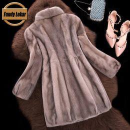 Wholesale Real Fur Vest Women Mink - Wholesale-Real Mink Fur Coat Women Winter Fur Jacket 2016 New Long Stand Collar Fur Coats Female Russian