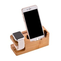 Wholesale I Phone Holders - Wood Phone Stand Charging Bracket Holder 3 USB Ports for iPhone 7 plus 6S Plus SE 5 5S for i Watch Natural Bamboo Charging Dock Station
