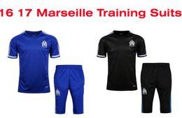 Wholesale Men Leisure Tracksuit - Benwon - Marseille soccer tracksuit 16 17 short sleeve training football kits men's leisure sports training suits adult's outdoor soccer set
