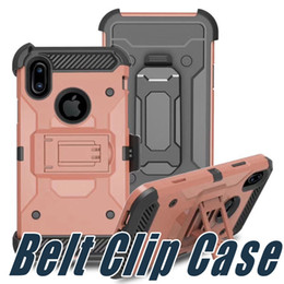 Wholesale Iphone Impact Case Black - Belt Clip Holster Kickstand Case Armor Shockproof Cases Impact Hybrid For iPhone 8 7 6 6s Plus Sumsung Galaxy S8 Plus Edge G955 ON 7 G550