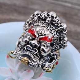 Wholesale Gods China - 925 pure silver Act the role ofing is tasted wholesale domineering A big black god Religious beliefs Men's money ring opening Thai silver