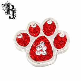 Wholesale Red Paw Print - 12pcs lots Snaps Snap Jewelry Rhinestone Crystal Red Dog  Cat Paw Print Ginger Chunky Button Charms Interchangeable Snap Jewelry SB282
