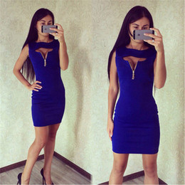 Wholesale Hip Cocktail Dresses - Women Clothes Women Casual Summer Short Mini Dress Cocktail Party Evening Bodycon Sleeveless Sexy Package Hip Zipper Solid Color Cotton