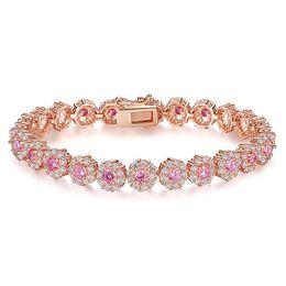 Wholesale Swarovski Jewelry Rose Gold - Hot Sale Pink Rhinestone Luxury Fashion Rose Gold Plated Bracelet for Women Birthday Jewelry Swarovski Elements Crystal Bracelets Wholesale