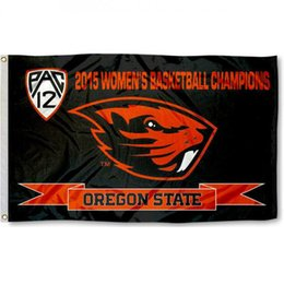 Wholesale Cub Logos - Oregon team State 2015 Pac 12 logo Basketball Flag National Cubs Polyester Flag USA Football Hockey Baseball College Car Flags