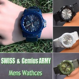 Wholesale Wholesale Luxury Watches For Men - 2016 Hot New Arrivals Luxury Mens Military Watches SWISS & Gemius ARMY logo Nylon Strap Quartz Movement SPORT Wristwatch For MEN