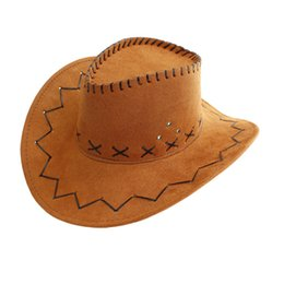Wholesale Easter Garden Craft - Western Cowboy Hat Suede Wild West For fancy Dress and Outdoor performance cowboy hat tour crafts Cowgirl Unisex Hats