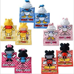 Wholesale Wholesale Terry Bathrobes - Baby Hooded Bathrobe Cartoon Bath Towel High Quality Baby Bath Terry 5 Styles Pooh Donald Hello Kitty Bathing Robe For Children 10PCS