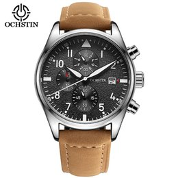 Wholesale Pilots Watches - Wholesale-Luxury Pilot Mens Watches Chronograph 6 Hands Leather Automatic days Men Waterproof Sport Quartz Aviator Watch Gift Box