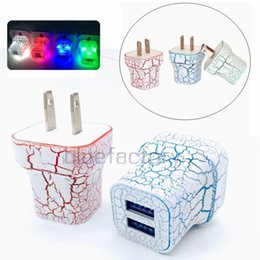 Wholesale Colorful Wall Lights - LED Dual 2 USB Wall Charger Cracks Colorful Glow Light UP 5V 2A 1A AC Travel Home Charging Power Adapter for iphone Samsung High Quality