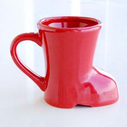 Wholesale Glazed Ceramic Coffee Mug - 10cm Mini Boots Mug Glaze Ceramic Cup Custom Christmas Red Shoes Shape Creative Milk Coffee Porcelain Cup