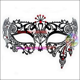 Wholesale Masquerade Masks Laser Cut - Wholesale- Half Face Gold Filigree Metal Silver Laser Cut Color Rhinestone Black Venetian Carnival Masquerade Mardi Gras Mask Red Crystal