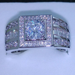 Wholesale Harmony Plates - 011 Celebrity design Rhythmic Harmony Men 10KT White Gold Filled Topaz simulated diamond Wedding Ring Sz 7-13 free shipping