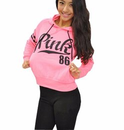 Wholesale Hoodies Cheap Girls - Autumn Girl ladies Long Sleeve Sweatshirts Cheap Love Pink 86 Letter Print Casual Hooded Pullovers Winter Jumpers Hoodies Sportwear