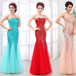 Wholesale Cheap Formal Dresses Free Shipping - Mermaid Prom Dresses Cheap Sequins Sweetheart Backless Formal Evening Gowns Long Arabic Party Dress Under 50 Free Shipping