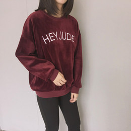 Wholesale Korean Cute Hoodie - Wholesale- 2017 autumn hoodies women winter kawaii clothes new hoodie korean cute letters embroidery HEY JUDE harajuku sweatshirt women