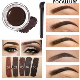 Wholesale Tint Brushes Wholesale - Wholesale- Professional Eye Brow Tint Makeup Tool Kit Waterproof High Brow 5 Color Pigment Black Brown Henna Eyebrow Gel With Brow Brush