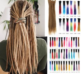 Wholesale Blue Extensions - 5 Roots one lot Dreadlocks Hair Different Colors Crochet Marley Handwork Hair Kanekalon Crochet Braiding Synthetic Hair Extentions