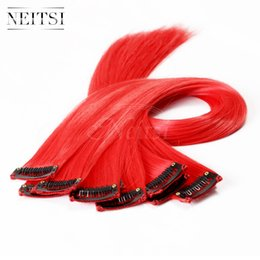 Wholesale Hair Extension Clips Red - Neitsi 18inch Red#(F19#) 10pcs lot Straight Synthetic Clip in Hair Synthetic Clips Hair Single Clip Hair Piece Highlight Extensions