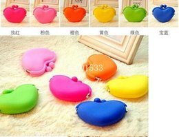 Wholesale Low Price Credit Card Wallet - Low price Heart Shape coin bag coin purse silicone money bag puse Japanese style coin wallet youmyelectec