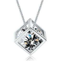 Wholesale Diy Slider Charms - 925 sterling silver pendants woman jewelry necklaces charms white gold square slider lucency shiny crystal diy chains 2016 new arrive 1pcs