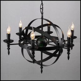 Wholesale Traditional Black Iron Chandelier - European American Engineering Cafe Bar Wrought Iron Candle Chandelier Vintage Circular Lamp Restaurant Bedroom Pendant Lights Lighting LL78