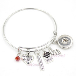 Wholesale Book Links - Wholesale Adjustable Bangle Snap Jewelry Teacher Bracelet Book Ruler Crayons Charms Bangle Snap Button Bracelets for Teacher Gift