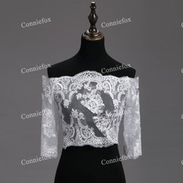 Wholesale Girls Lace Bolero - Real Photo White 2017 Wedding Bolero Lace Shrug Shawl Women Girl For Wedding Jacket feminina Boleros Mujer Accessories