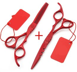 Wholesale Shears Sets - Wholesale-5.5 6.0 inch 440C hair scissors thinning cutting cut barber hairdressing scissors shears scissor set styling tools Free Shipping