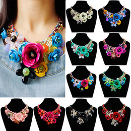 Wholesale Gems For Necklaces - Wholesale-Star Jewelry wholesale for women maxi necklace 2015 new design fashion statement necklace Gem flowers necklaces &