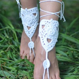 Wholesale Handmade Anklets Toe Ring - New Fashion handmade Anklet Crochet Barefoot Sandals Brides Shoes Beach Pool Yoga Wear Anklet Hippy boho chic toe ring bracelets Accessories