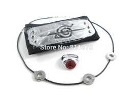 Wholesale Naruto Necklace Set - Wholesale-Cosplay Naruto Konohagakure Akatsuki Uchiha Itachi Konoha Logo Headband+Necklace+Ring 3Pcs Set