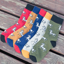 Wholesale Funny Wedding Cartoons - Wholesale- 10PCS=5Pairs lot Cartoon Cute Horse Men Women Colorful Combed Cotton Socks High Quality Wedding Gifts Happy Funny British Style