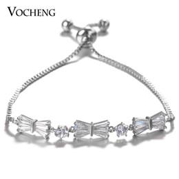 Wholesale Glam Set - VOCHENG Glam Bowknot Adjustable Chain Charm Bracelet 2 Color Plated CZ Stone Copper Metal Women Accessories VG-099