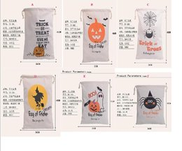 Wholesale 2017 style Halloween Large Canvas bags cotton Drawstring Bag With Pumpkin devil spider Hallowmas Gifts Sack Bags cm