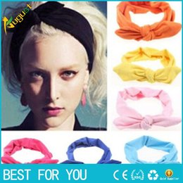 Wholesale Knotted Turban Style Headbands - Women Elastic Rabbit Bow Style Hair Band Headband Top Knot Turban Head bands hairbands Headwear Ornament accessories