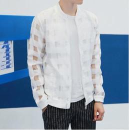 Wholesale Sheer Transparent Men - Pierced Transparent Jacket Men Sun Protection Clothing Summer Thin Long Sleeve Man Jacket Plus Size Slim Plaid Mens Jackets Free shipping