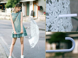 Wholesale cats umbrellas - Romantic imitation lace Transparent cute cat Large long Rain Wind Umbrella For Lolita Women Travel