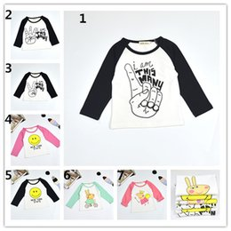 Wholesale Cartoon T Shirts For Kids - Kids cartoon print cotton long sleeve T shirt finger counting emoji animal printed cotton under shirt for girls boys baby toddlers