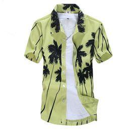 Wholesale Hawaii Shirts Wholesale - Wholesale-Summer 2016 Men Hawaii Shirt Beach Leisure Fashion Floral Shirt Coconut PalmBeach Printing Shirt For Men