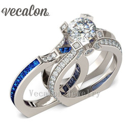 Wholesale Simulated Cz Diamond Sets - Vecalon Female Silver Jewelry Engagement ring Sapphire Simulated diamond Cz 925 Sterling Silver wedding Band ring Set for women