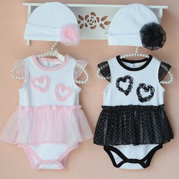 Wholesale Children Pink Onesies - Baby Onesies Girl Dress Lace Romper Flower Caps Children Clothes Kids Clothing Summer Jumpsuit And Rompers Baby One Piece Romper