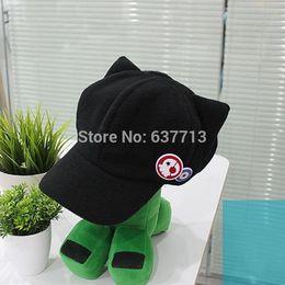 Wholesale Plush Caps - 100PCS Lot Spot Movie Evangelion EVA Asuka cat ears hat plush Hat Peaked Baseball Cap Casquette EMS Free 1206#06