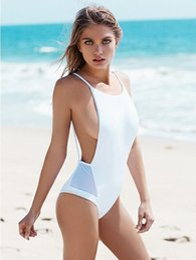 Wholesale Wholesale Leotard - 2016 European and American women's summer beach sexy halter swimsuit leotard Slim net yarn splicing tape