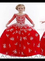 Wholesale Kids Western Dresses - 2016 New Arrival Floor Length Princess Gown Western Kids Flower Girl Dresses Full Length With Embroidery