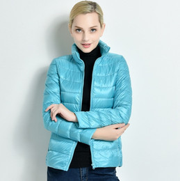 Wholesale Down Jacket Women Plus Size - New Winter 2017 Slim Thin Female Stand Collar Duck Down Jacket Women Ultra Light Coat Solid Color Plus Size Parkas ZA242
