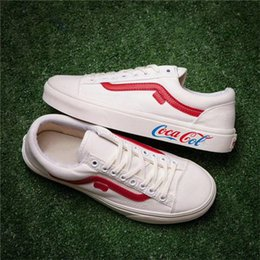 Wholesale Rubber Ropes - Van Coca Cola Old Skool Casual Shoes Sp06 New DC Canvas Rope Soled Shoes Sneakers White Red Autumn Skateboard Sneaker Boys Girls