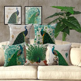 Wholesale Peacock Christmas Decor - Green Bird Peacock Pillow Case Cushion cover Square linen cotton Pillowcase Cover Home sofa Pillow pillowslip Decor Christmas gift 240478