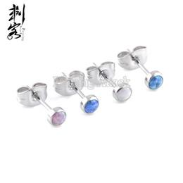 Wholesale Stainless Steel Body Jewlery - Surgical Steel Opal Body Jewlery Fancy Earring Studs Lot of 8 Piece